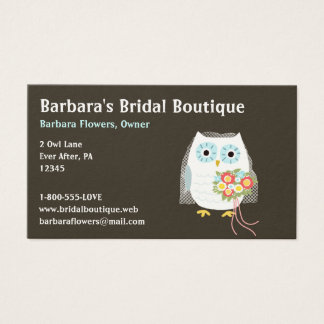 White Owl Bride with Flower Bouquet  Business Card
