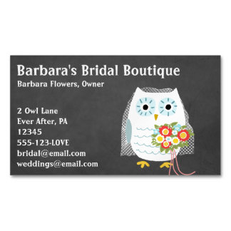 White Owl Bride with Flower Bouquet Business Card Magnet