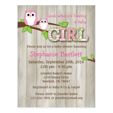 Toddler & Baby themed White Owl Chevron Baby Shower Invitation Postcard