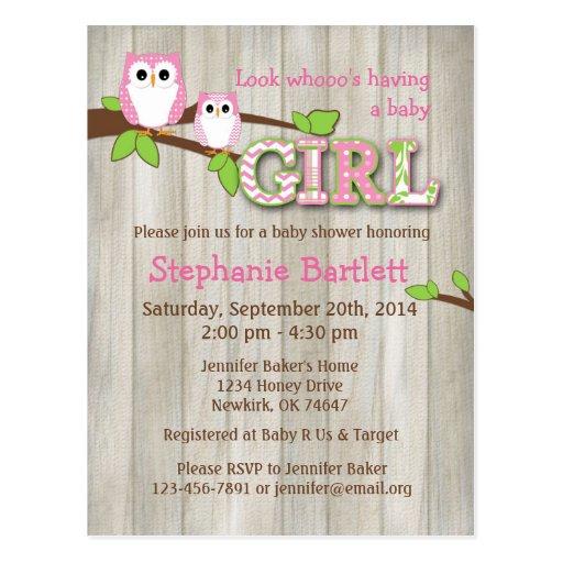 White Owl Chevron Baby Shower Invitation Post Cards