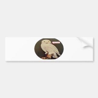 white owl drawing bumper sticker