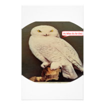 white owl drawing stationery
