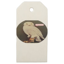white owl drawing wooden gift tags