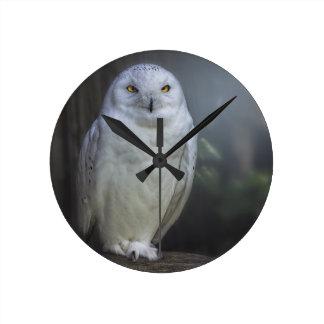 White Owl in Night Round Clock