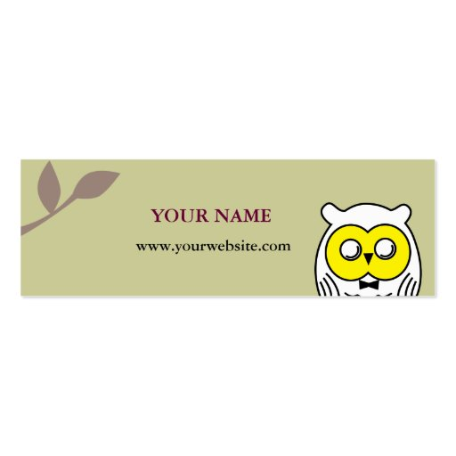 White OWL in the woods Double-Sided Mini Business Cards (Pack Of 20)