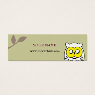 White OWL in the woods Mini Business Card