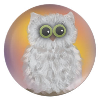 White Owl on Orange Purple Sunrise Painting Dinner Plate
