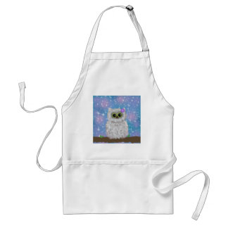 White Owl Painting on Blue Glittery / Snowy Sky Adult Apron