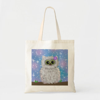 White Owl Painting on Blue Glittery / Snowy Sky Tote Bags