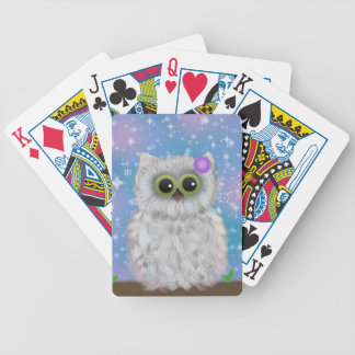 White Owl Painting on Blue Glittery / Snowy Sky Bicycle Playing Cards