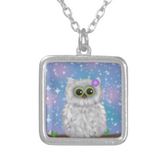 White Owl Painting on Blue Glittery / Snowy Sky Silver Plated Necklace