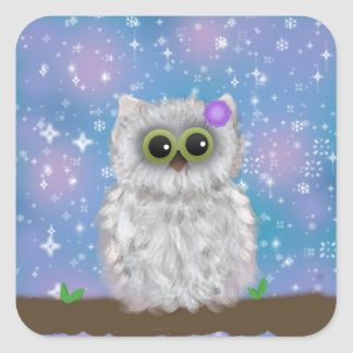 White Owl Painting on Blue Glittery / Snowy Sky Square Sticker