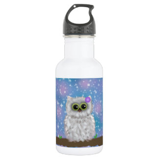 White Owl Painting on Blue Glittery / Snowy Sky Stainless Steel Water Bottle