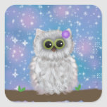 White Owl Painting on Blue Glittery / Snowy Sky Stickers
