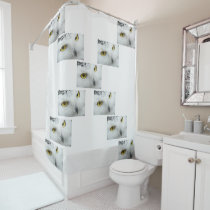 White owl shower curtain