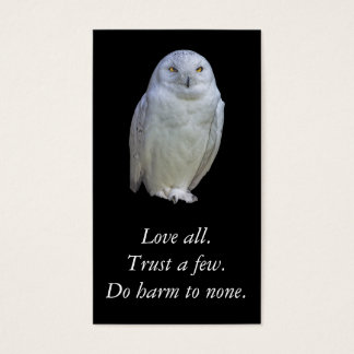 White Owl Wise Saying. Shakespeare. Business Card