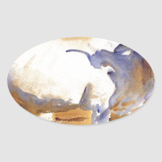 White Ox at Siena by John Singer Sargent Oval Sticker