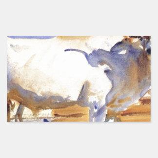 White Ox at Siena by John Singer Sargent Rectangular Sticker