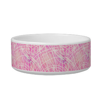 White Paint Stripes Hot Pink Canvas Pattern Image Cat Water Bowls