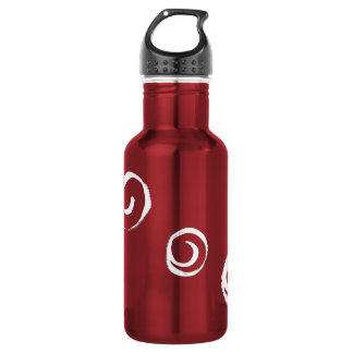 White paint swirls on red stainless steel water bottle