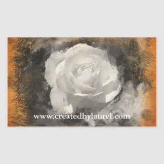 White Painted Rose Rectangular Stickers