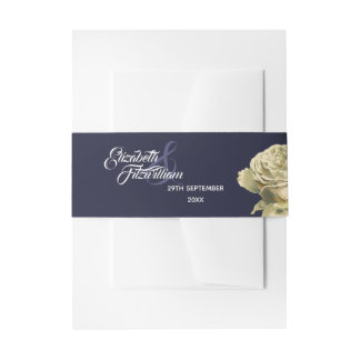 White Painted Roses Invitation Belly Band