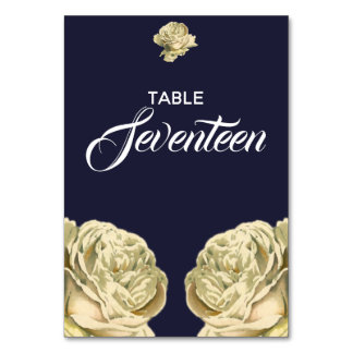 White Painted Roses Table Number
