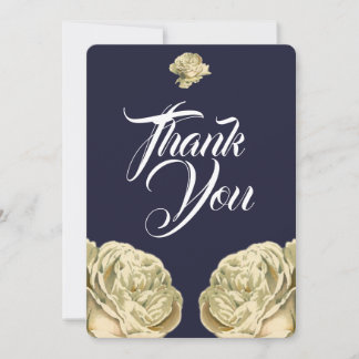 White Painted Roses Thank You Card