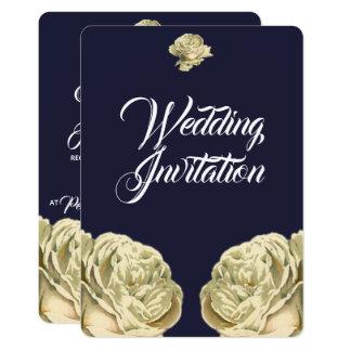 White Painted Roses Wedding Invitation
