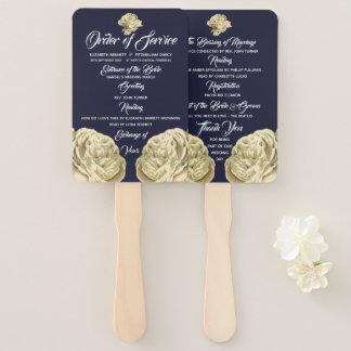 White Painted Roses Wedding Program Hand Fan