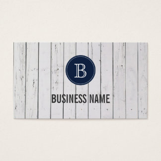 White Painted Wood Wall Monogram Business Card