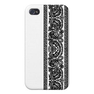 White Paisley Bandana iPhone 4 Case