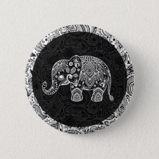 White Paisley Elephant Black Damasks Background Button