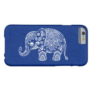 White Paisley Elephant Blue Damask Background Barely There iPhone 6 Case