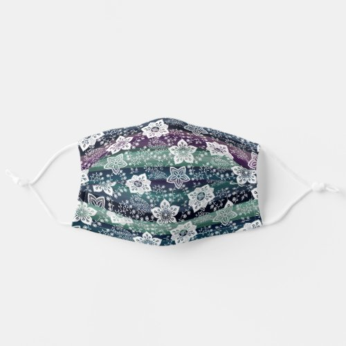 White Paisley Floral Dark Purple Teal Blue Stripes Adult Cloth Face Mask