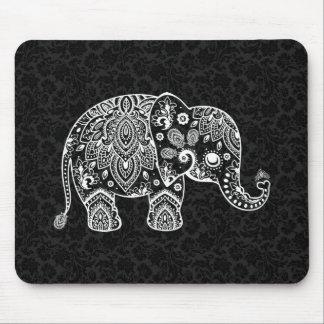 White Paisley Floral Elephant Illustration Mouse Pad