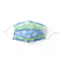 White Paisley Floral Turquoise Blue Green Stripes Adult Cloth Face Mask