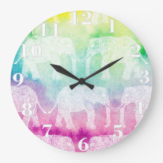 White Paisley Henna Elephants Watercolor Pattern Large Clock
