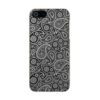 White Paisley On Black Changeable Background Metallic iPhone SE/5/5s Case