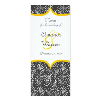 white paisley pattern with dots on dark menu card