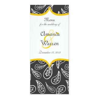 white paisley pattern & yellow label on dark menu card