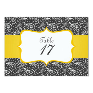 white paisley with dots on dark table number custom invite