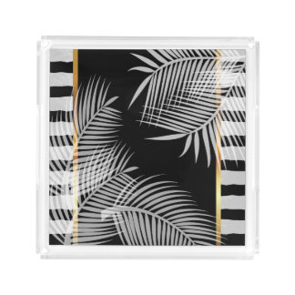 White Palm Leaves Acrylic Tray