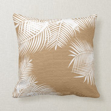 Beach Themed White Palm Leaves on Faux Burlap Throw Pillow