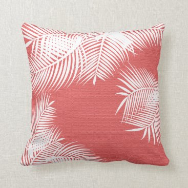 Beach Themed White Palm Leaves on Faux Coral Burlap Throw Pillow