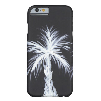 White Palm Trees on Black Background Barely There iPhone 6 Case