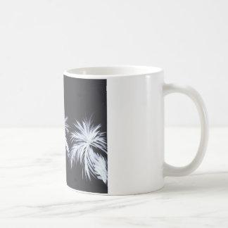 White Palm Trees on Black Background Coffee Mug