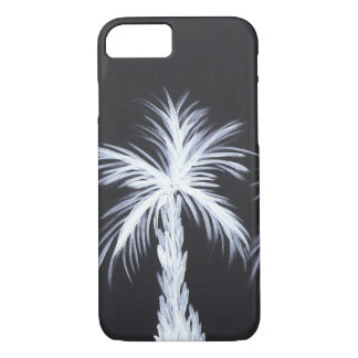 White Palm Trees on Black Background iPhone 7 Case