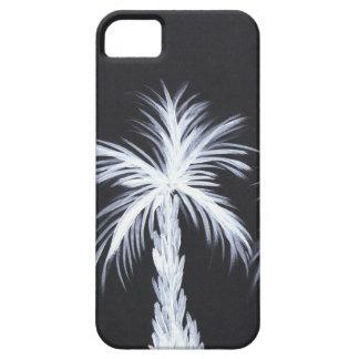 White Palm Trees on Black Background iPhone SE/5/5s Case