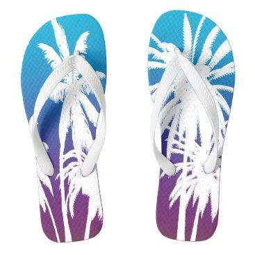 Beach Themed White Palm Trees Purple Blue Fade Tahiti Retro Flip Flops